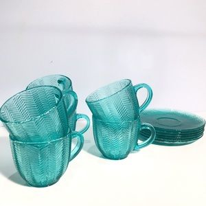 Vintage ARCOROC France Herringbone Aqua Cups Set 6